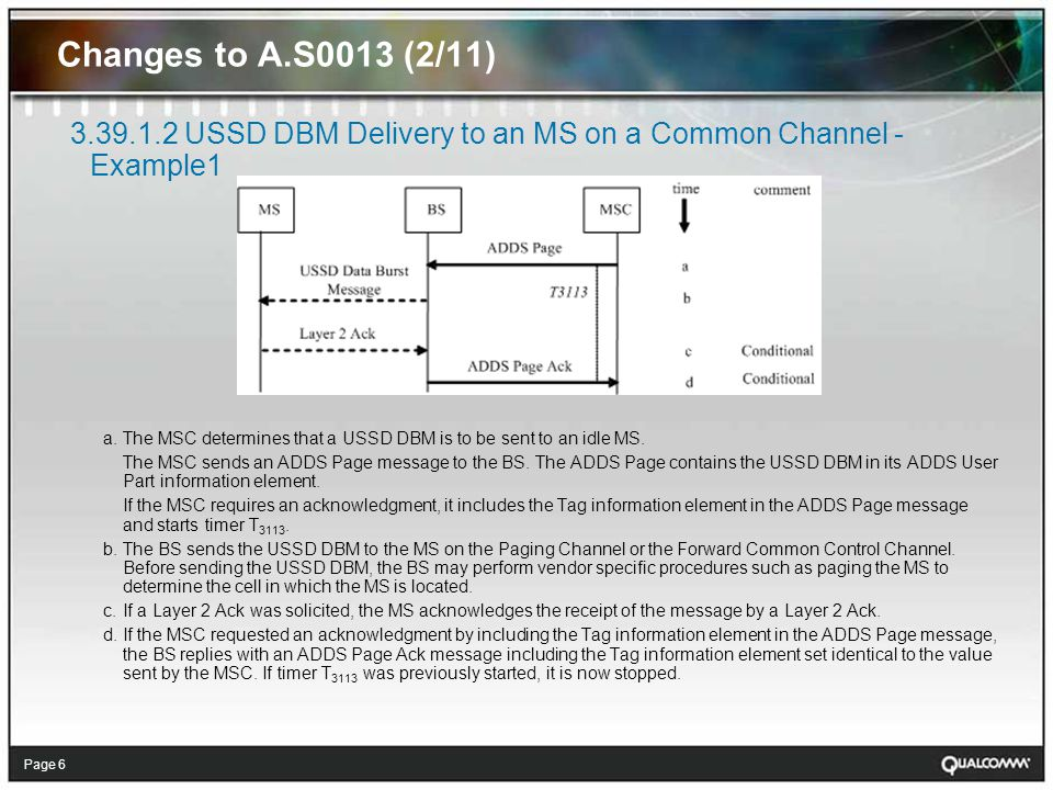 Page 7 Changes to A.S0013 (3/11) 3.39.1.3 USSD DBM Delivery to an MS on a Common Channel - Example 2 (without Early Traffic Channel Assignment)