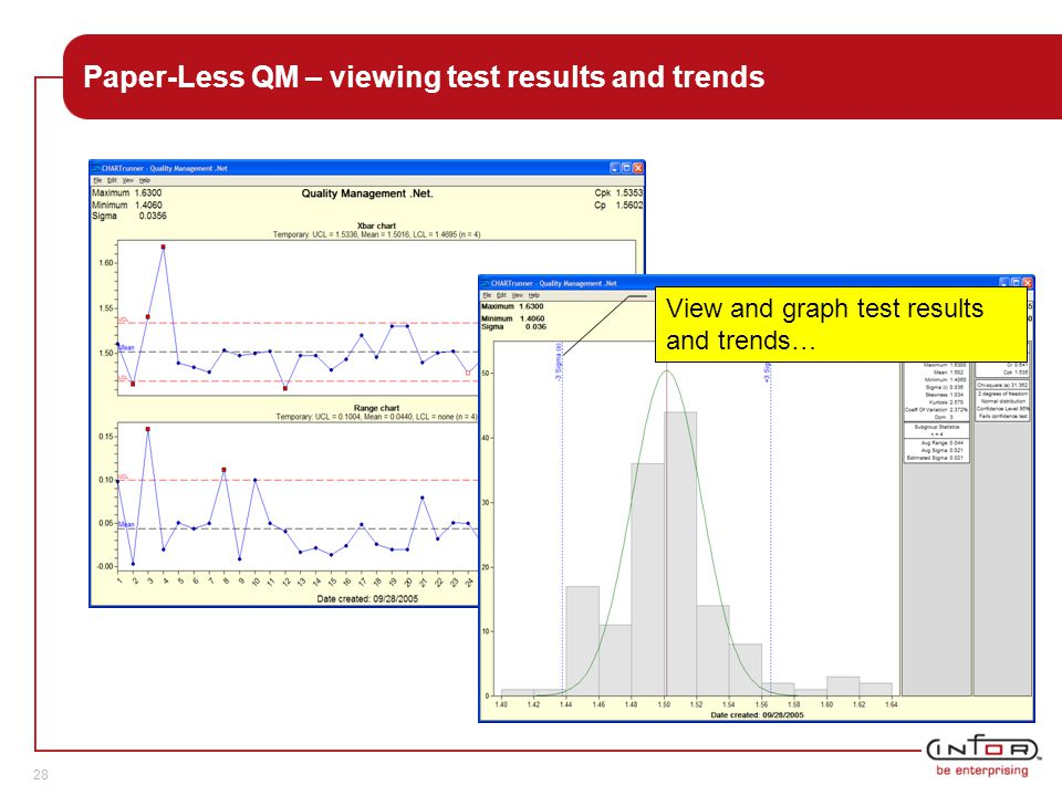 Template V.24, 1-Mar-2007 28 Paper-Less QM – viewing test results and trends View and graph test results and trends…