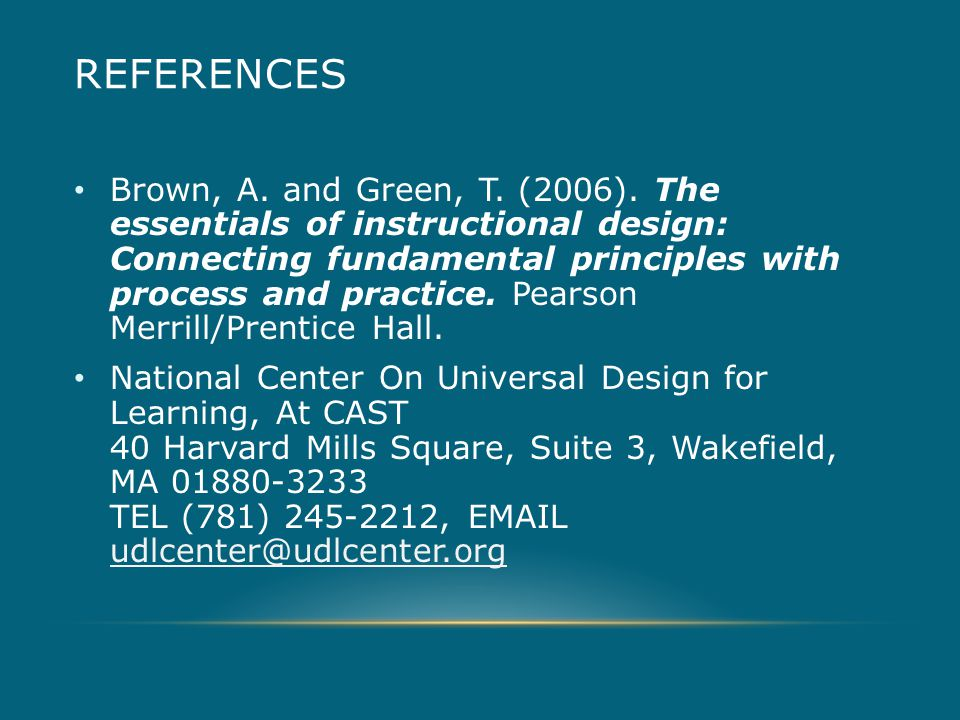 REFERENCES Brown, A. and Green, T. (2006).