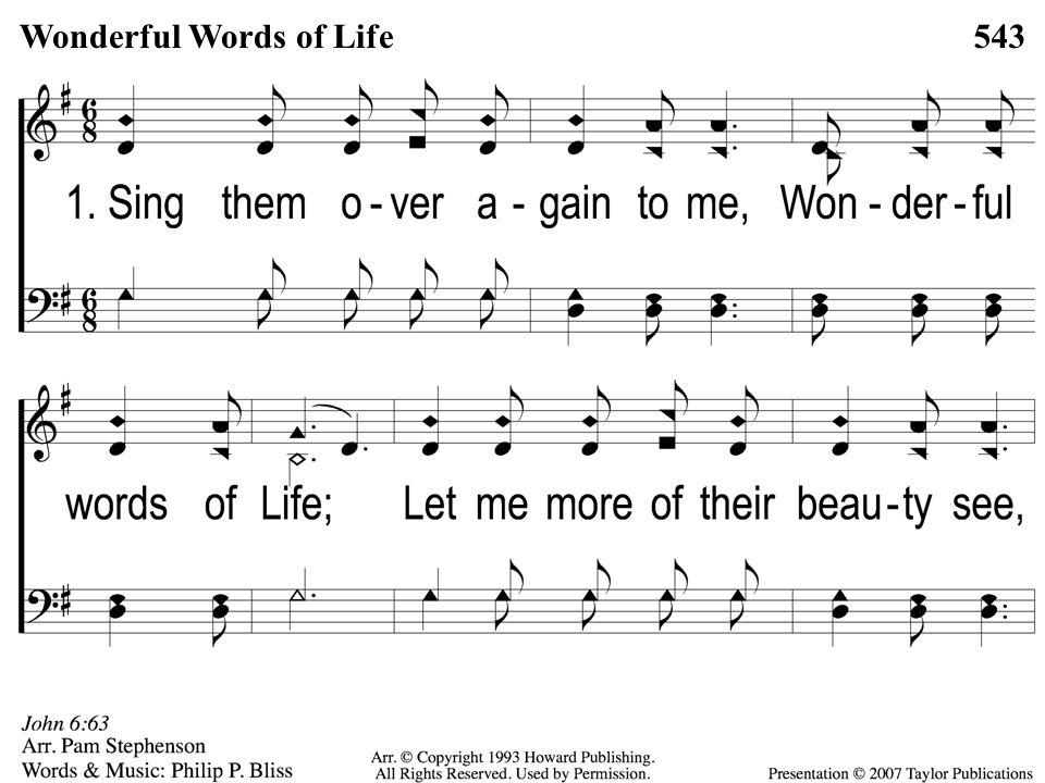 Opt descant 3-4 Wonderful Words of Life Wonderful Words of Life543