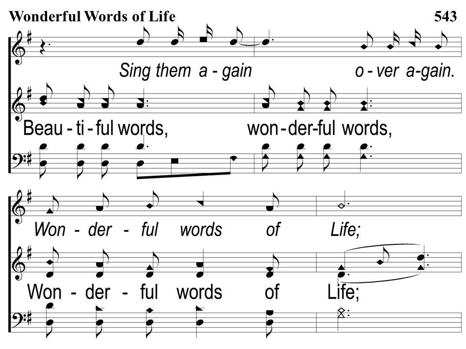 Opt descant 3-4 Wonderful Words of Life Wonderful Words of Life543