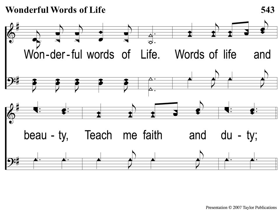 Opt descant 3-5 Wonderful Words of Life Wonderful Words of Life543