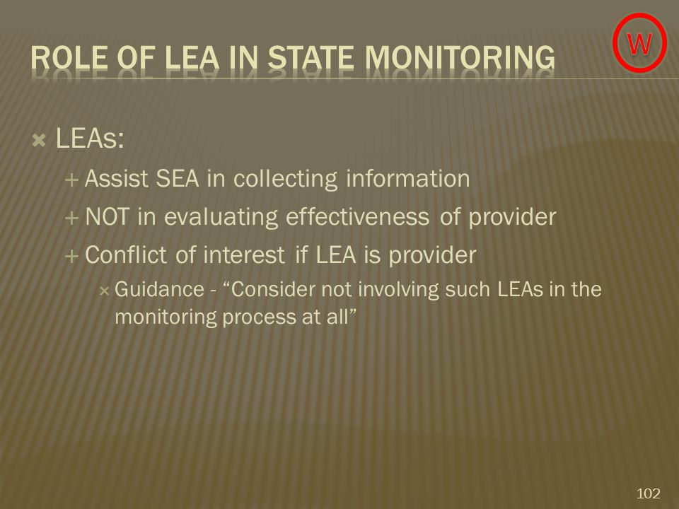 LEAs:  Assist SEA in collecting information  NOT in evaluating effectiveness of provider  Conflict of interest if LEA is provider  Guidance - Consider not involving such LEAs in the monitoring process at all 102