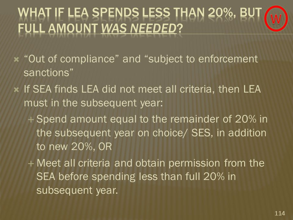  Out of compliance and subject to enforcement sanctions  If SEA finds LEA did not meet all criteria, then LEA must in the subsequent year:  Spend amount equal to the remainder of 20% in the subsequent year on choice/ SES, in addition to new 20%, OR  Meet all criteria and obtain permission from the SEA before spending less than full 20% in subsequent year.