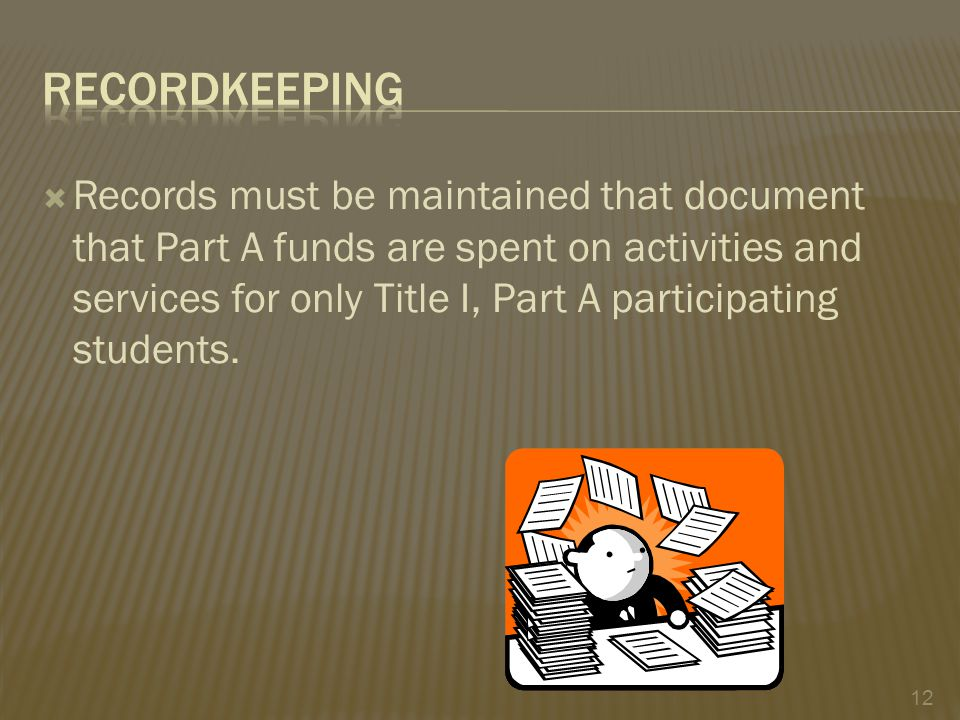  Records must be maintained that document that Part A funds are spent on activities and services for only Title I, Part A participating students.