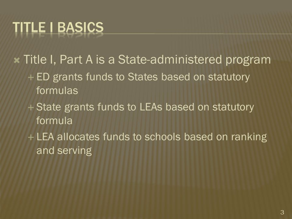  Enabling all students to meet State standards  Not required to provide supplemental services to identified children  Does not have to:  Demonstrate Federal funds are used only for specific target populations 14
