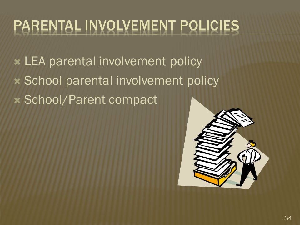  LEA parental involvement policy  School parental involvement policy  School/Parent compact 34