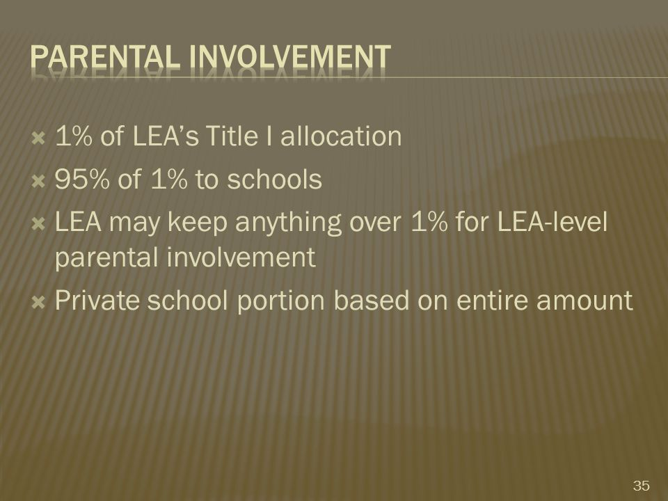  1% of LEA's Title I allocation  95% of 1% to schools  LEA may keep anything over 1% for LEA-level parental involvement  Private school portion based on entire amount 35