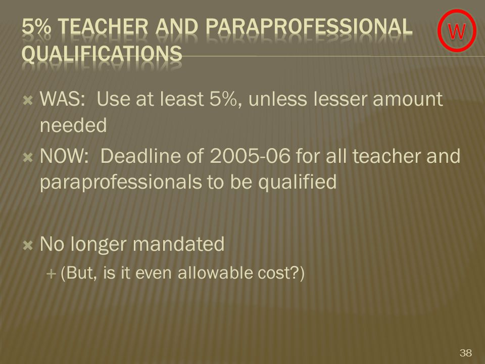  WAS: Use at least 5%, unless lesser amount needed  NOW: Deadline of 2005-06 for all teacher and paraprofessionals to be qualified  No longer mandated  (But, is it even allowable cost ) 38