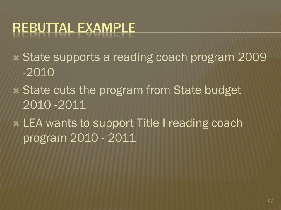  State supports a reading coach program 2009 -2010  State cuts the program from State budget 2010 -2011  LEA wants to support Title I reading coach program 2010 - 2011 69