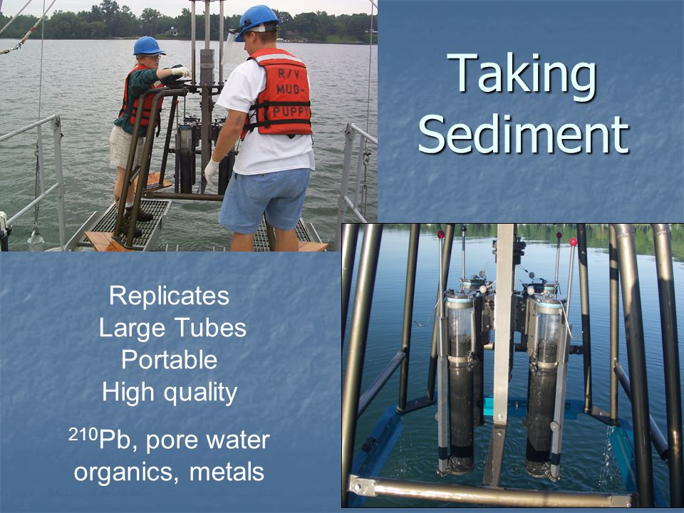 Taking Sediment Replicates Large Tubes Portable High quality 210 Pb, pore water organics, metals
