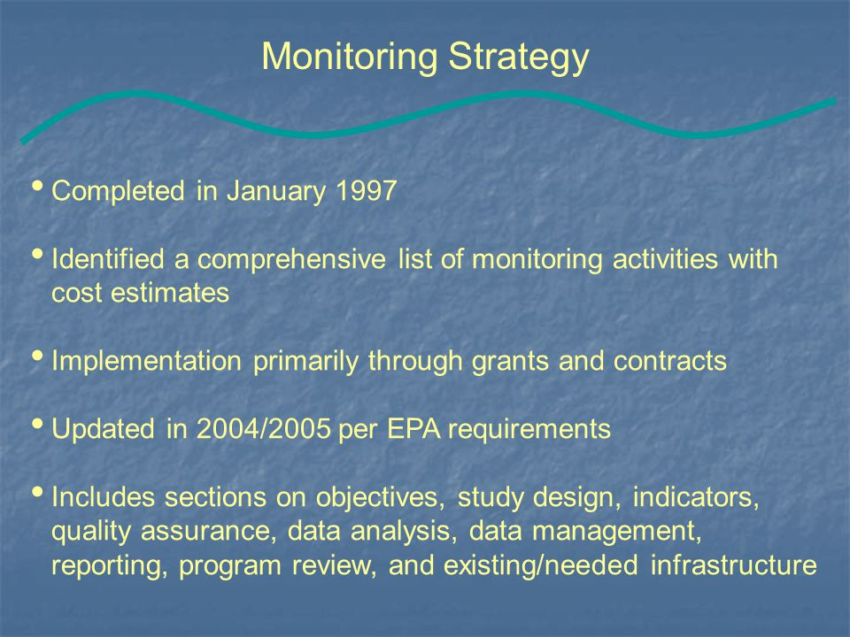 Monitoring Strategy Completed in January 1997 Identified a comprehensive list of monitoring activities with cost estimates Implementation primarily through grants and contracts Updated in 2004/2005 per EPA requirements Includes sections on objectives, study design, indicators, quality assurance, data analysis, data management, reporting, program review, and existing/needed infrastructure