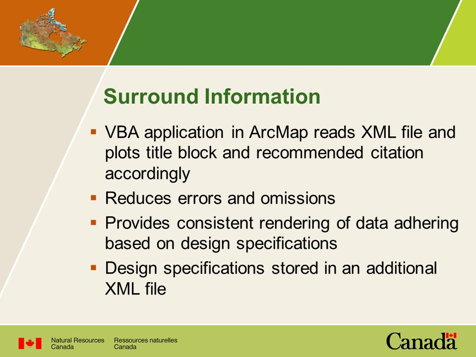 Surround Information  VBA application in ArcMap reads XML file and plots title block and recommended citation accordingly  Reduces errors and omissions  Provides consistent rendering of data adhering based on design specifications  Design specifications stored in an additional XML file