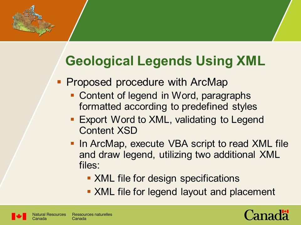 Geological Legends Using XML  Proposed procedure with ArcMap  Content of legend in Word, paragraphs formatted according to predefined styles  Export Word to XML, validating to Legend Content XSD  In ArcMap, execute VBA script to read XML file and draw legend, utilizing two additional XML files:  XML file for design specifications  XML file for legend layout and placement