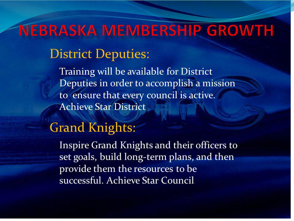 Training will be available for District Deputies in order to accomplish a mission to ensure that every council is active. Achieve Star District Distri
