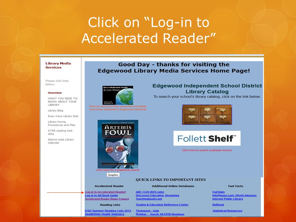 """Click on """"Log-in to Accelerated Reader"""""""