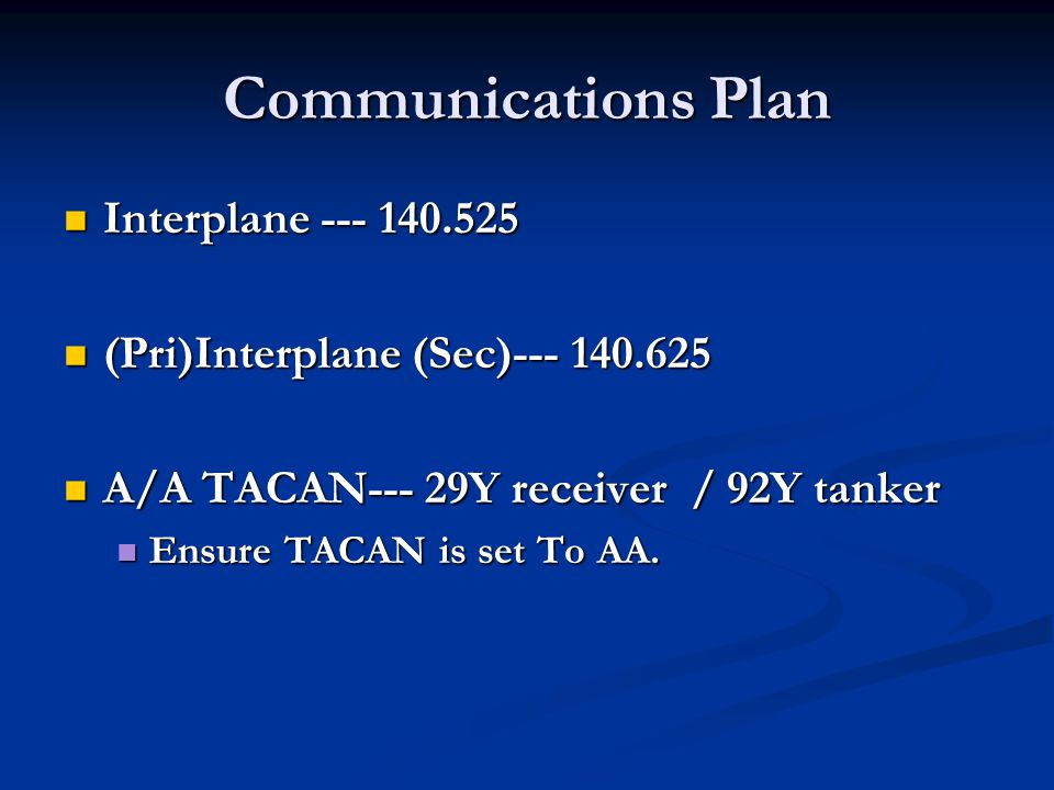 Communications Plan Interplane --- 140.525 Interplane --- 140.525 (Pri)Interplane (Sec)--- 140.625 (Pri)Interplane (Sec)--- 140.625 A/A TACAN--- 29Y r