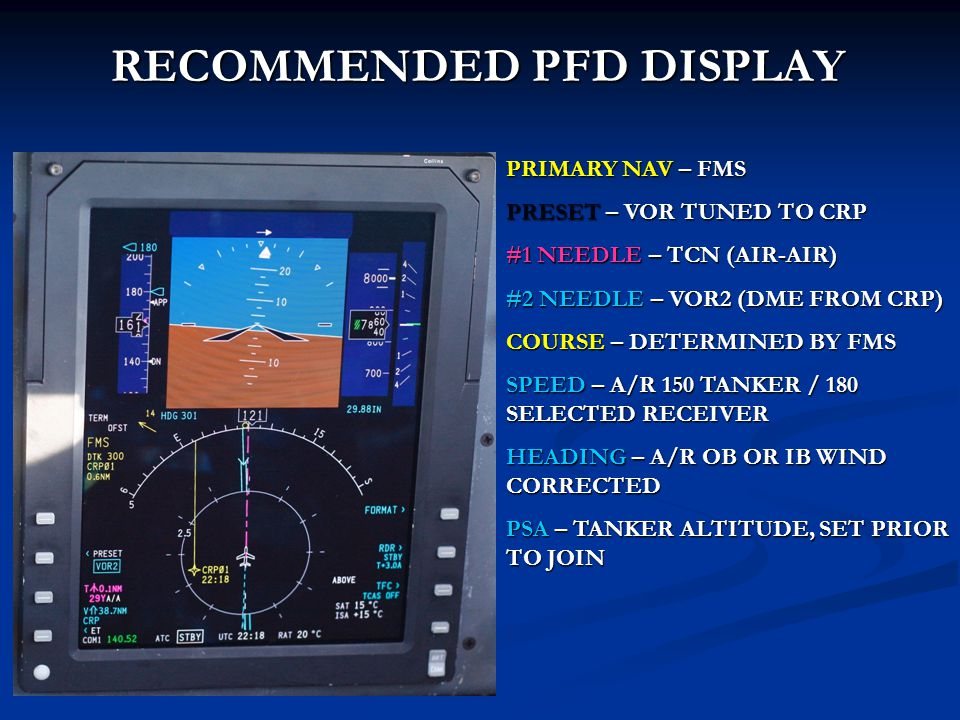 PRIMARY NAV – FMS PRESET – VOR TUNED TO CRP #1 NEEDLE – TCN (AIR-AIR) #2 NEEDLE – VOR2 (DME FROM CRP) COURSE – DETERMINED BY FMS SPEED – A/R 150 TANKE