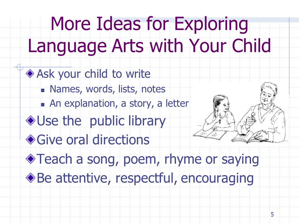 4 More Ideas for Exploring Language Arts with Your Child Lists and menus Instructions and recipes Books, magazines and printed materials Read to your child;read with your child;let your child read to you Ask different kinds of questions content, critical thinking, evaluation