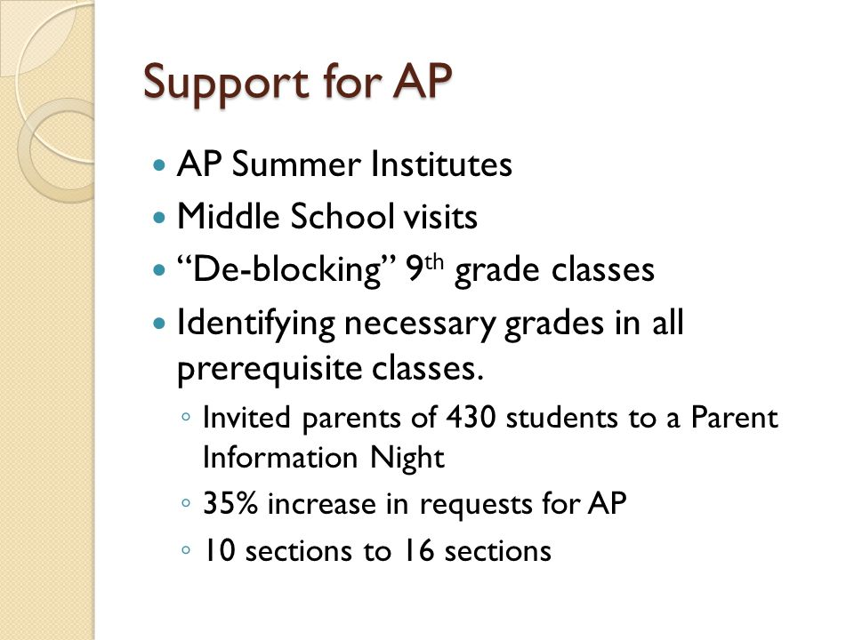 Support for AP AP Summer Institutes Middle School visits De-blocking 9 th grade classes Identifying necessary grades in all prerequisite classes.