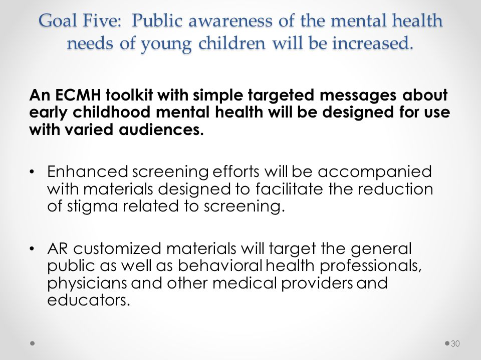 Goal Five: Public awareness of the mental health needs of young children will be increased. An ECMH toolkit with simple targeted messages about early