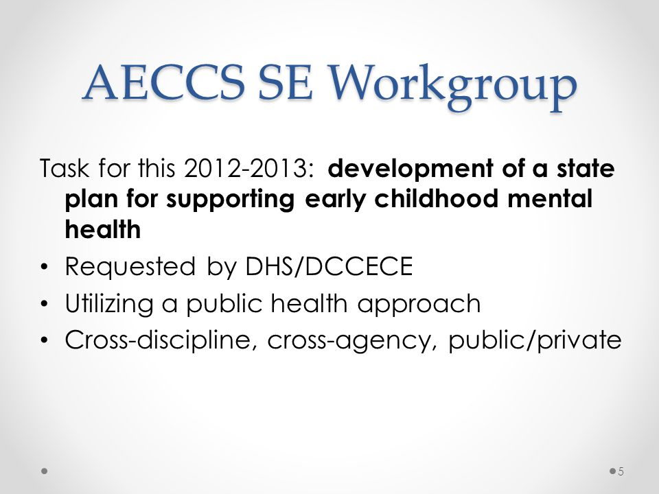AECCS SE Workgroup Task for this 2012-2013: development of a state plan for supporting early childhood mental health Requested by DHS/DCCECE Utilizing