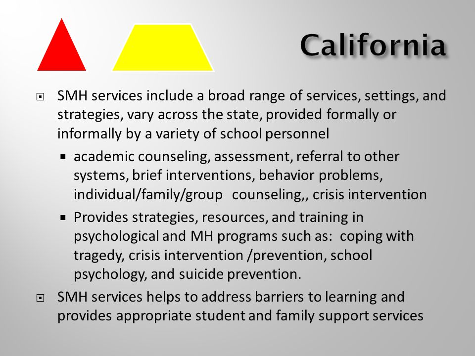  SMH services include a broad range of services, settings, and strategies, vary across the state, provided formally or informally by a variety of school personnel  academic counseling, assessment, referral to other systems, brief interventions, behavior problems, individual/family/group counseling,, crisis intervention  Provides strategies, resources, and training in psychological and MH programs such as: coping with tragedy, crisis intervention /prevention, school psychology, and suicide prevention.
