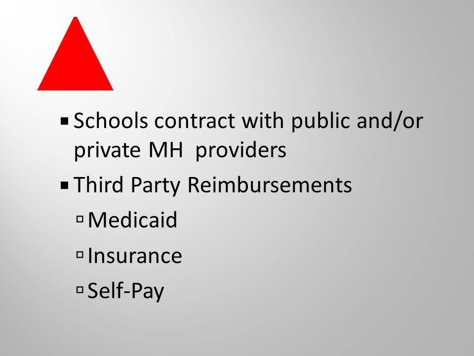  Schools contract with public and/or private MH providers  Third Party Reimbursements  Medicaid  Insurance  Self-Pay