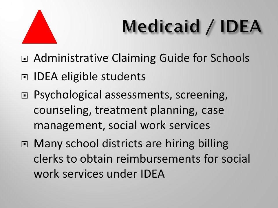  Administrative Claiming Guide for Schools  IDEA eligible students  Psychological assessments, screening, counseling, treatment planning, case management, social work services  Many school districts are hiring billing clerks to obtain reimbursements for social work services under IDEA