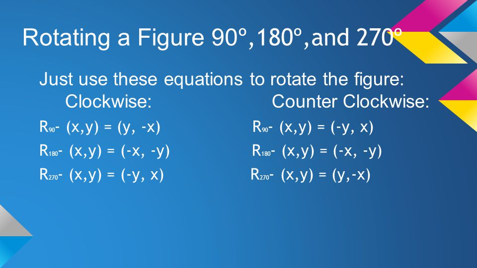 Rotating a Figure 90 º,180º,and 270º Just use these equations to rotate the figure: Clockwise: Counter Clockwise: R 90 - (x,y) = (y, -x) R 90 - (x,y)