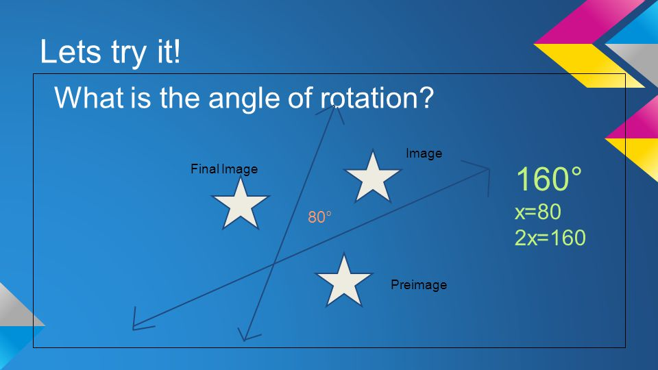 Lets try it! What is the angle of rotation Preimage Image Final Image 80° 160° x=80 2x=160