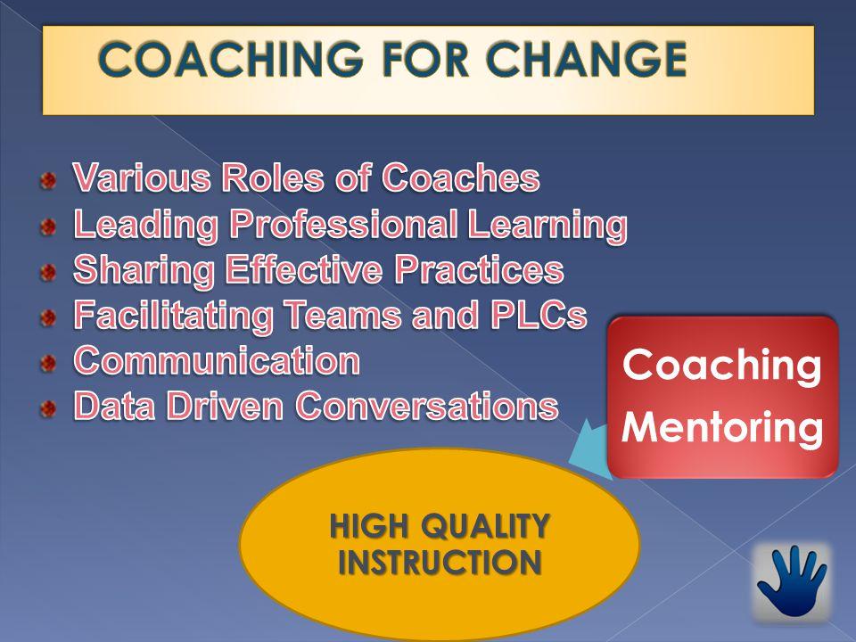 HIGH QUALITY INSTRUCTION Coaching Mentoring Coaching Mentoring