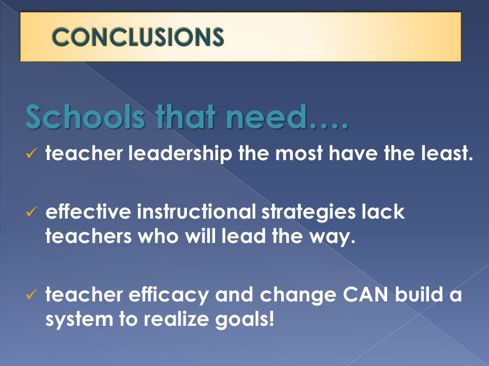 Schools that need…. teacher leadership the most have the least.