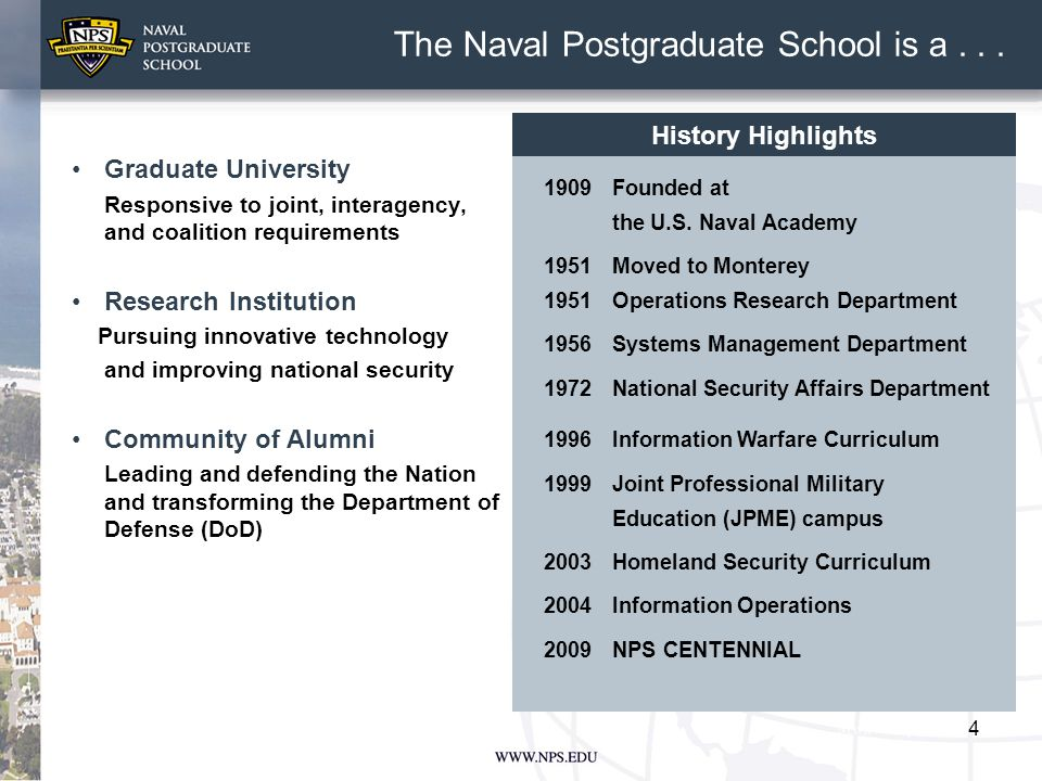 5 Responds to emerging DoD needs Fosters a multi-service, interagency, and coalition learning environment Prepares the joint intellectual leaders for tomorrow's forces CAPT Jeff Kline, USN (Ret) Senior Lecturer Operations Research Department NPS...