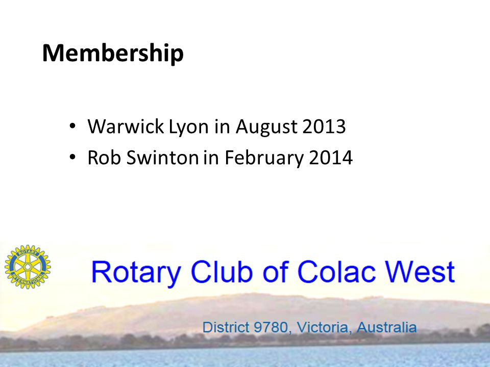 Warwick Lyon in August 2013 Rob Swinton in February 2014 Membership