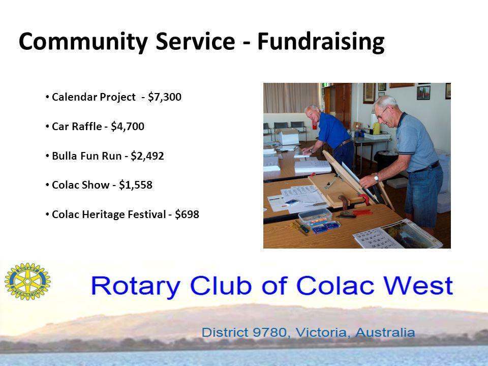 Community Service - Fundraising Calendar Project - $7,300 Car Raffle - $4,700 Bulla Fun Run - $2,492 Colac Show - $1,558 Colac Heritage Festival - $698