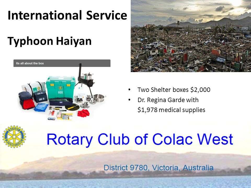 International Service - Interplast Served on the District Committee for Interplast Held a musical fund raiser ($2,145) Spoken to other clubs including Colac, Maryborough & Camperdown