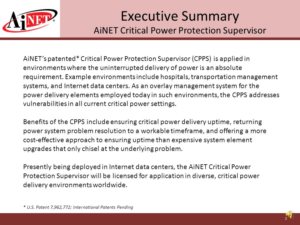 Critical Power Protection Supervisor Assuring Delivery of Power for Critical Applications AiNET® 11710 Montgomery Road Beltsville, MD 20705 USA www.ai