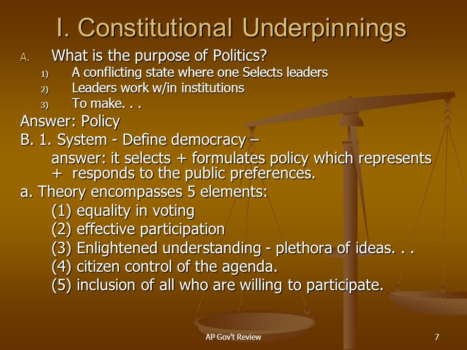AP Gov t Review168 1) voting 2) Housing 3) Job procurement 4) accessibility to public accommodations f.