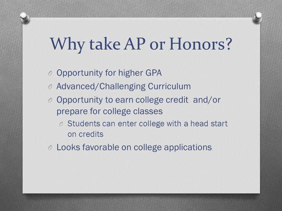 Why take AP or Honors.