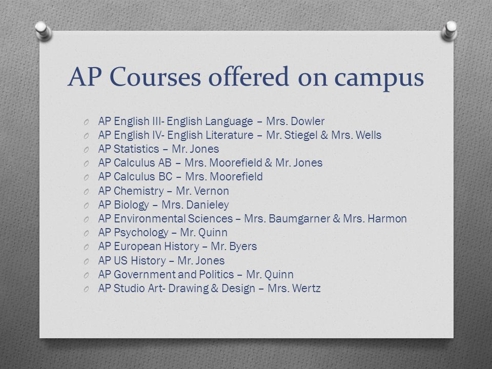 AP Courses offered on campus O AP English III- English Language – Mrs.
