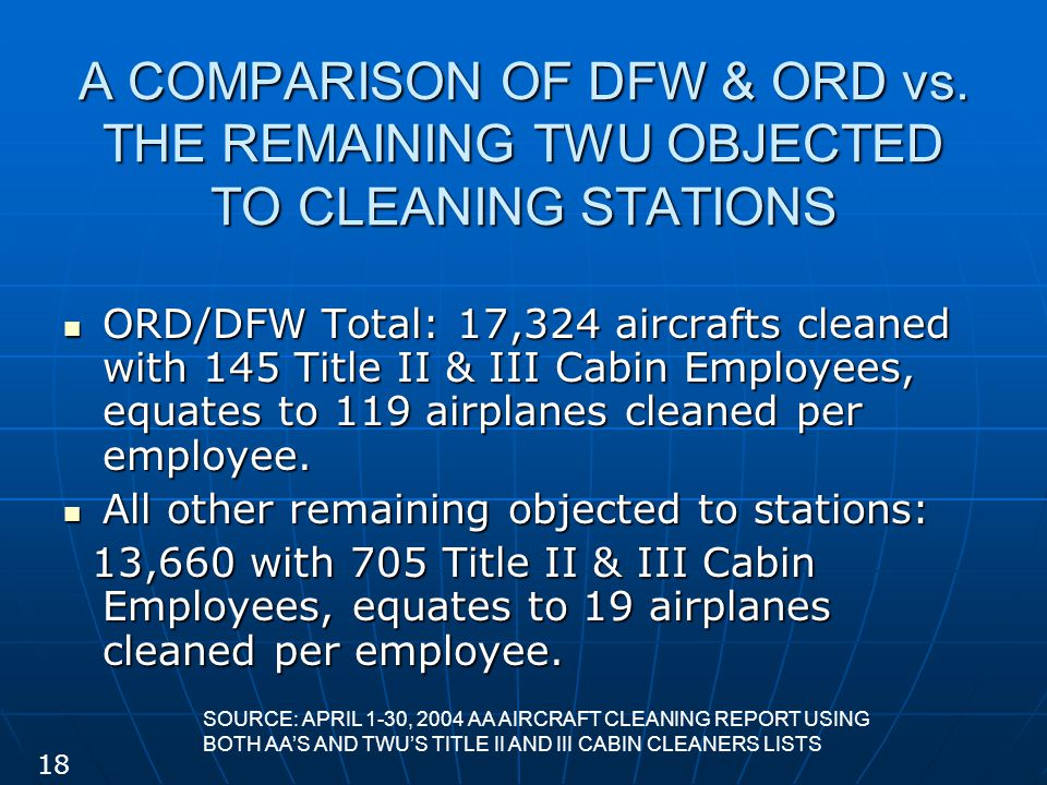 A COMPARISON OF DFW & ORD vs. THE REMAINING TWU OBJECTED TO CLEANING STATIONS ORD/DFW Total: 17,324 aircrafts cleaned with 145 Title II & III Cabin Em