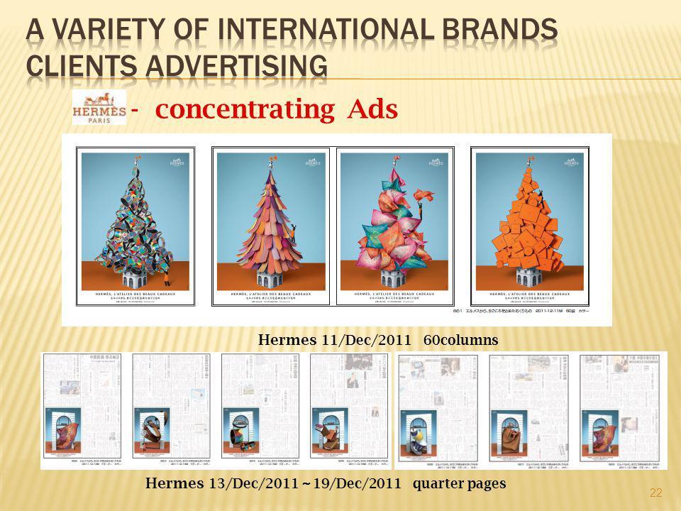 - concentrating Ads Hermes 11/Dec/2011 60columns Hermes 13/Dec/2011 ~ 19/Dec/2011 quarter pages 22