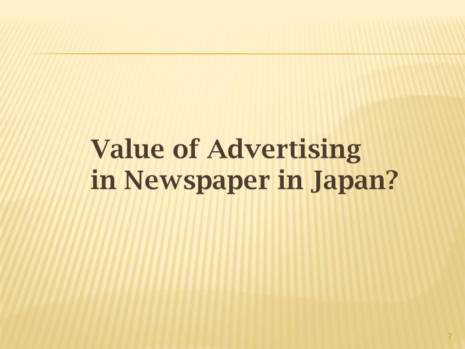 Value of Advertising in Newspaper in Japan 7