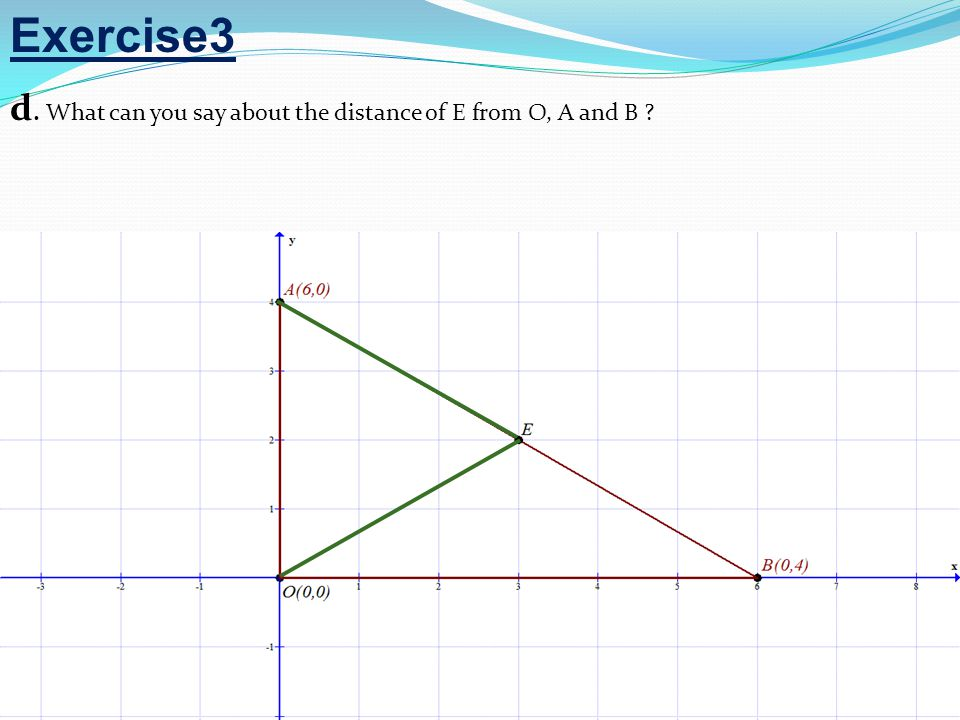 Exercise3 d. What can you say about the distance of E from O, A and B ?