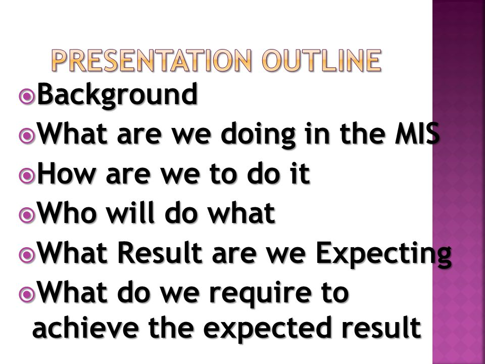  Background  What are we doing in the MIS  How are we to do it  Who will do what  What Result are we Expecting  What do we require to achieve the expected result