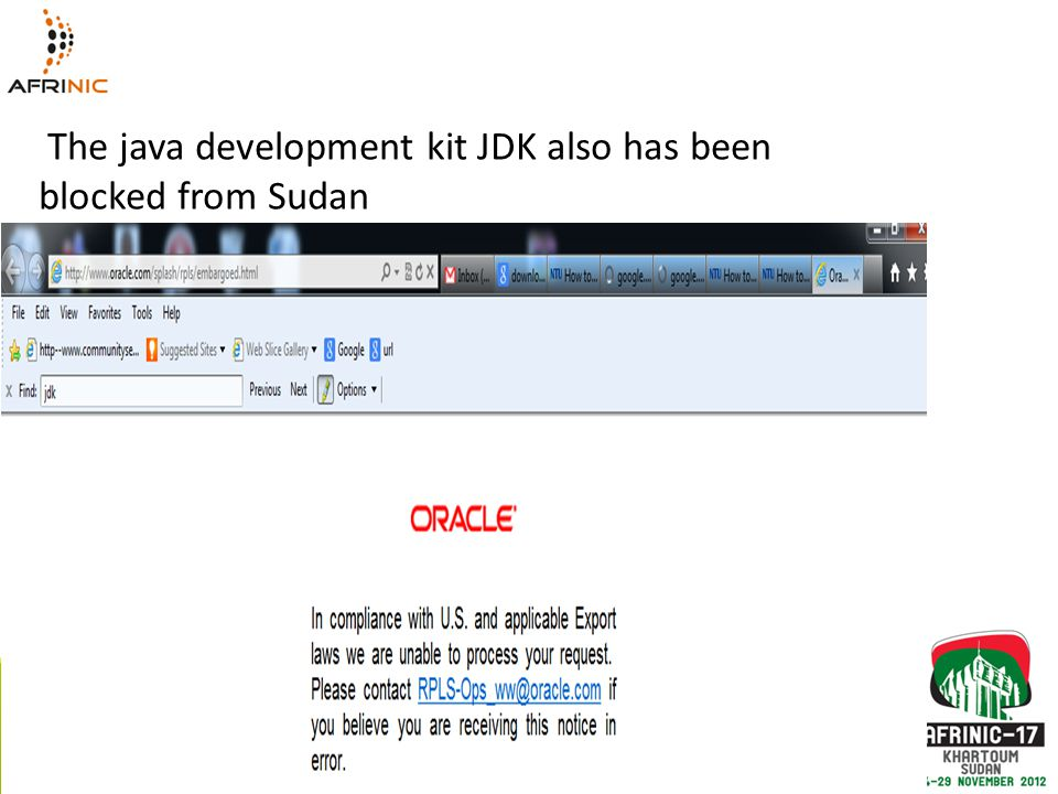 The java development kit JDK also has been blocked from Sudan