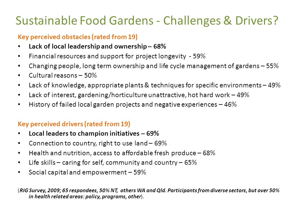 Sustainable Food Gardens - Challenges & Drivers.