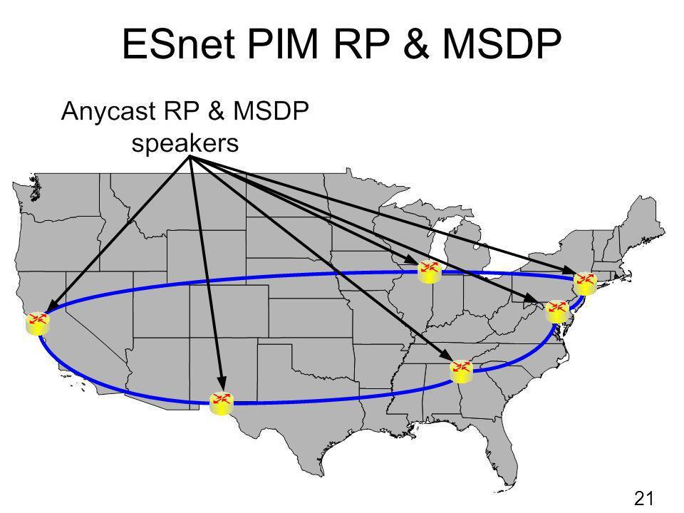 ESnet PIM RP & MSDP 21