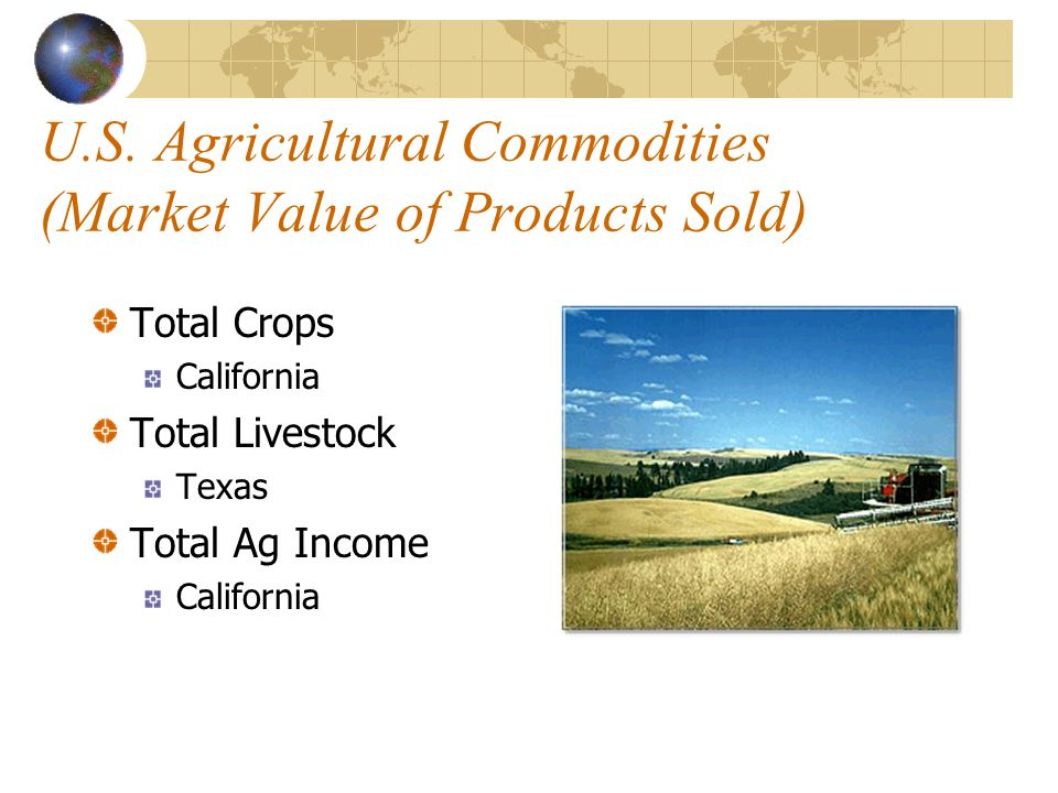 What are Commodities? Agricultural products which are sold. Examples: Milk Corn Wheat Beef Cotton
